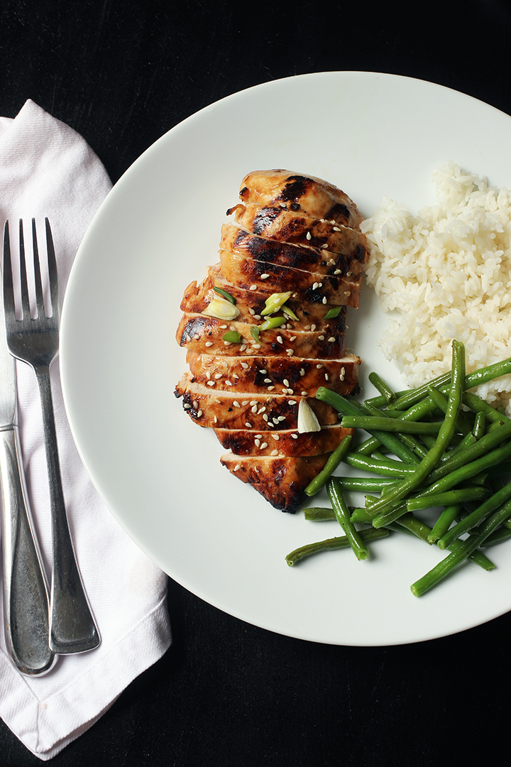 fork and knife next to dinner plate of asian chicken