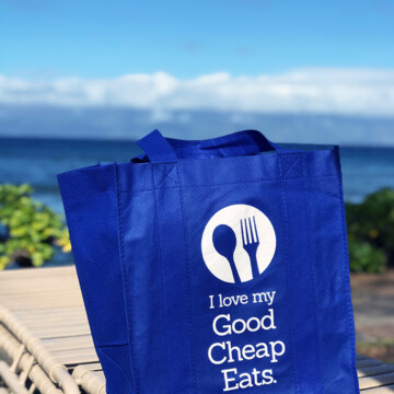 good cheap eats grocery bag on lounge chair in maui