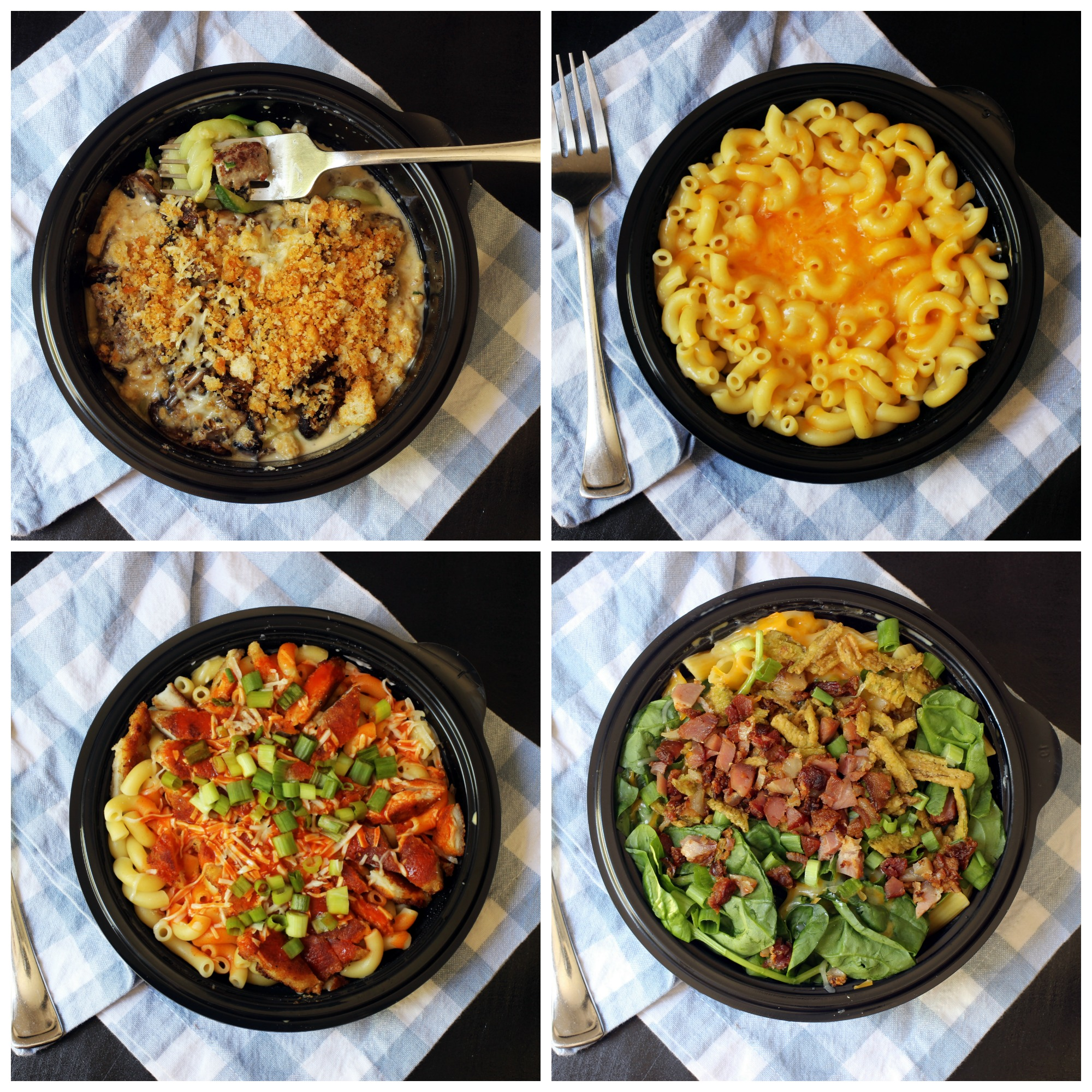 collage of different mac and cheese choices