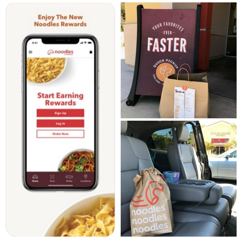 collage of Noodles app and picking up mobile order