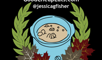 crocktoberfest badge with cartoon slow cooker and wreath of leaves