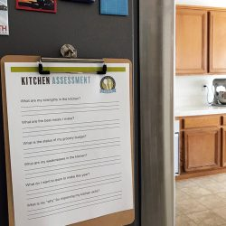 kitchen assessment worksheet on clipboard on side of fridge
