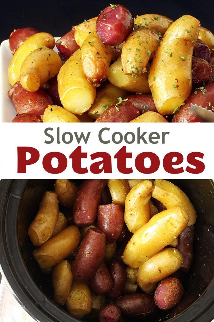 pinnable image of slow cooker potatoes