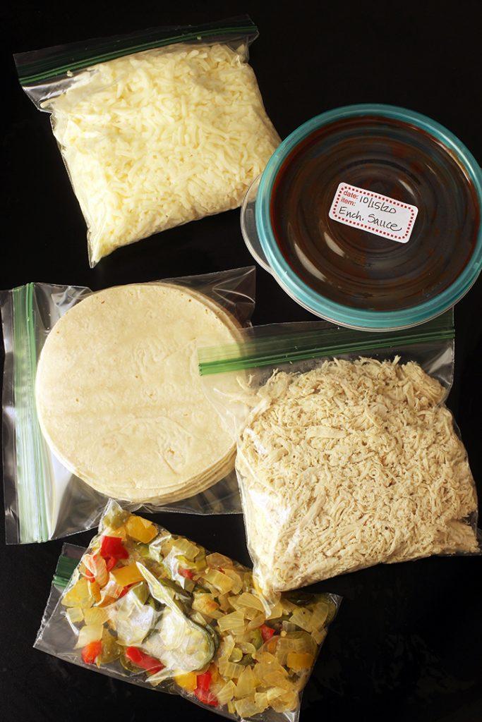 bags of ingredients for slow cooker enchilada kit
