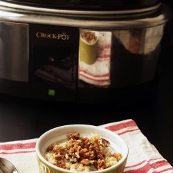 bowl of steel cut oats next to slow cooker