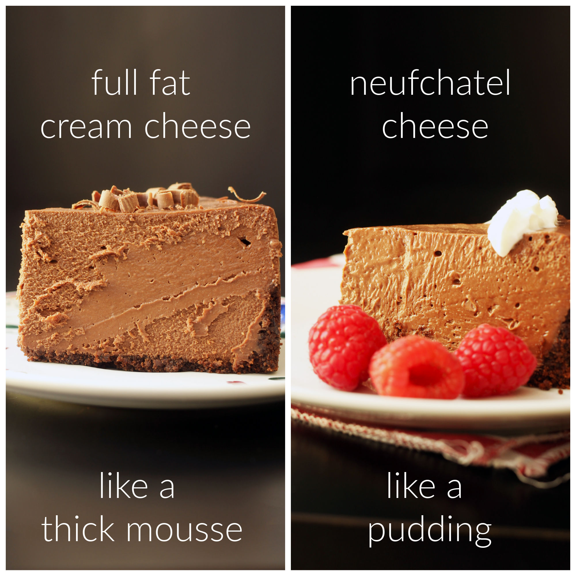 cheesecakes made with different cream cheese