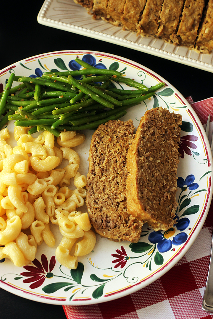 dinner plate with slow cooker meatloaf and sides