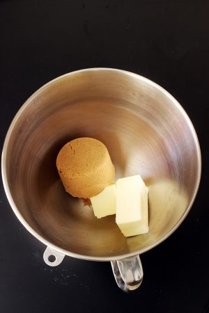 butter and brown sugar in mixer bowl