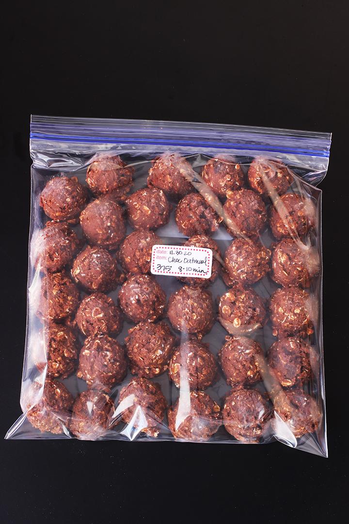 frozen chocolate oatmeal cookie balls in ziptop bag