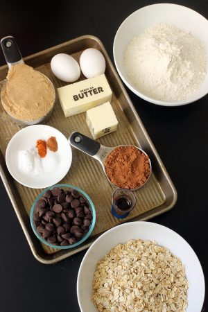ingredients for chocolate oatmeal cookies