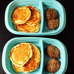 meal prep pancake and sausage in single serve boxes