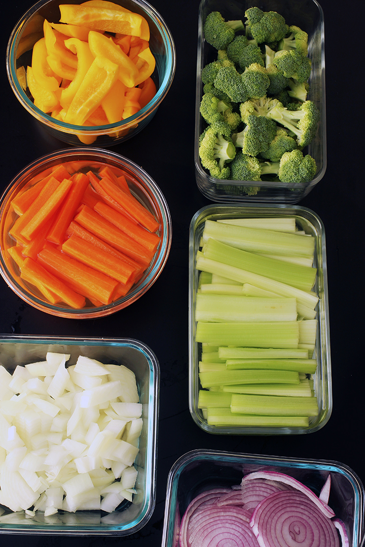 meal prep vegetables in glass containers