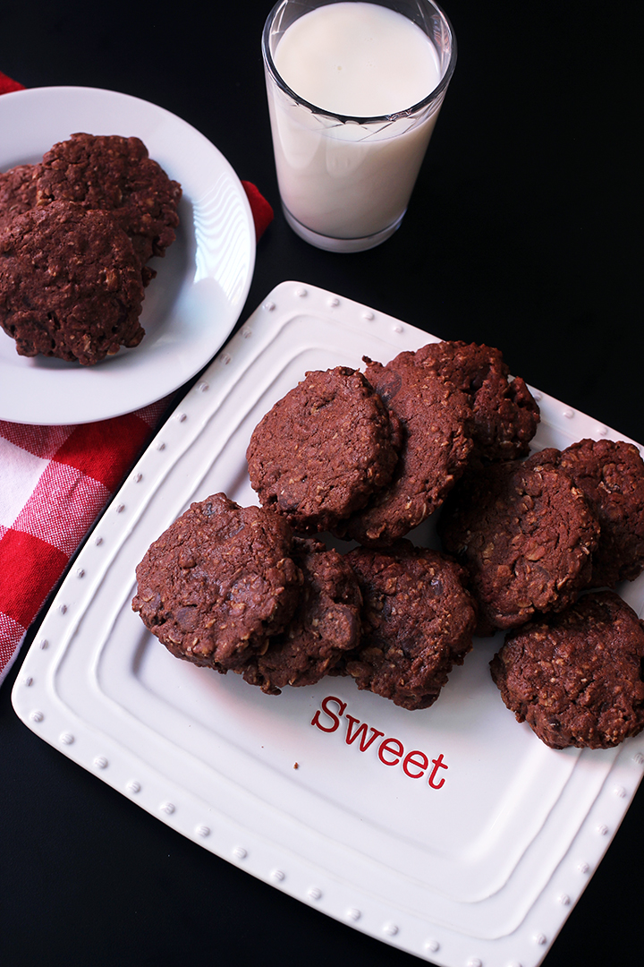 plate of chocolate oatmeal cookies on plate marked with sweet