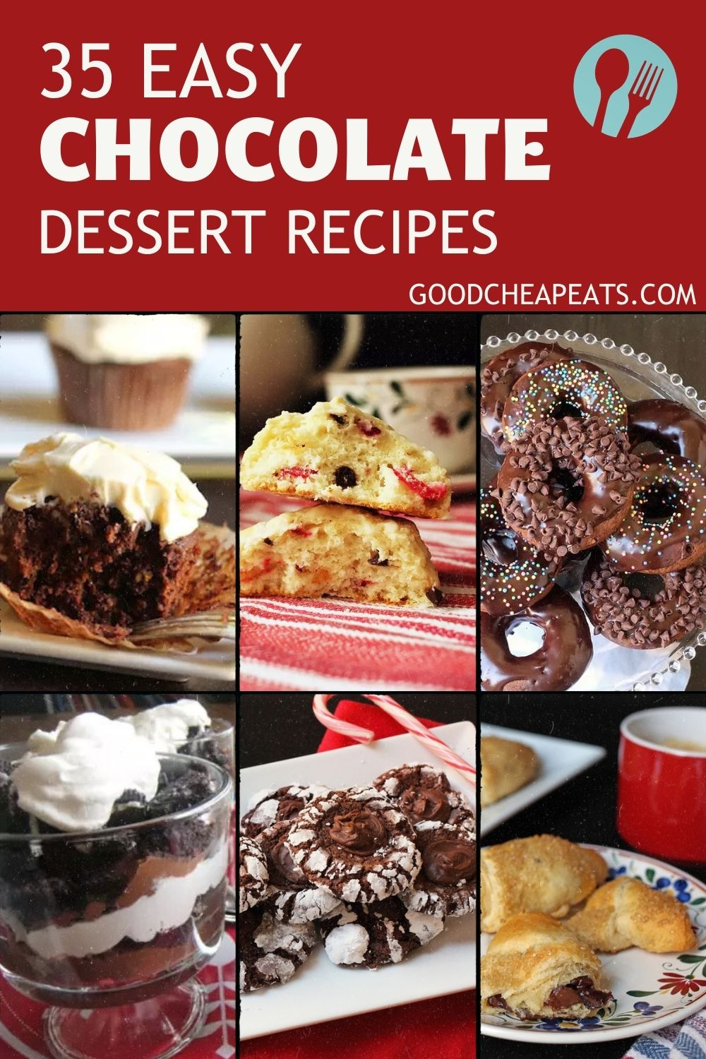 Pinterest image with chocolate desserts featured