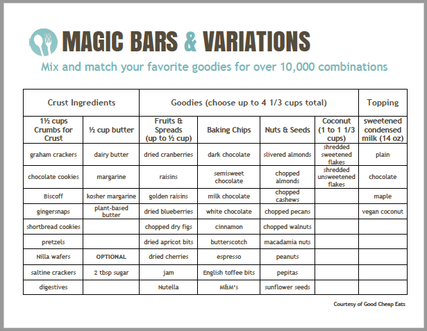 printable of magic bars variations