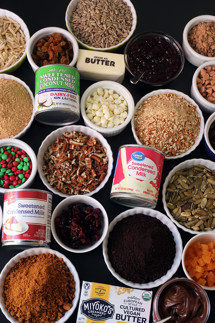 array of ingredients for making magic bars