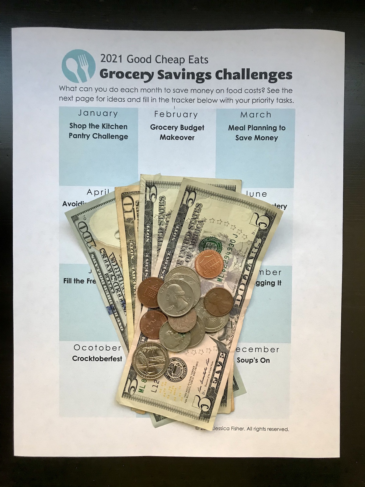 grocery savings challenges printable with money