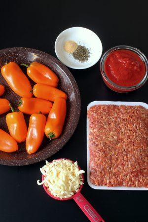 ingredients laid out to make the stuffed peppers