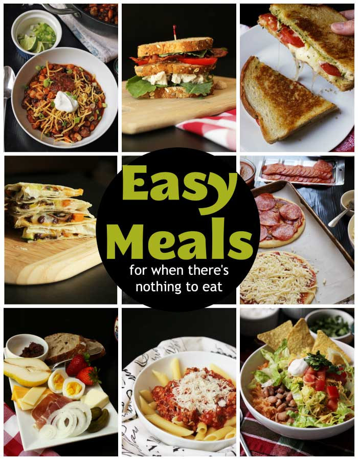 collage of easy meals to make
