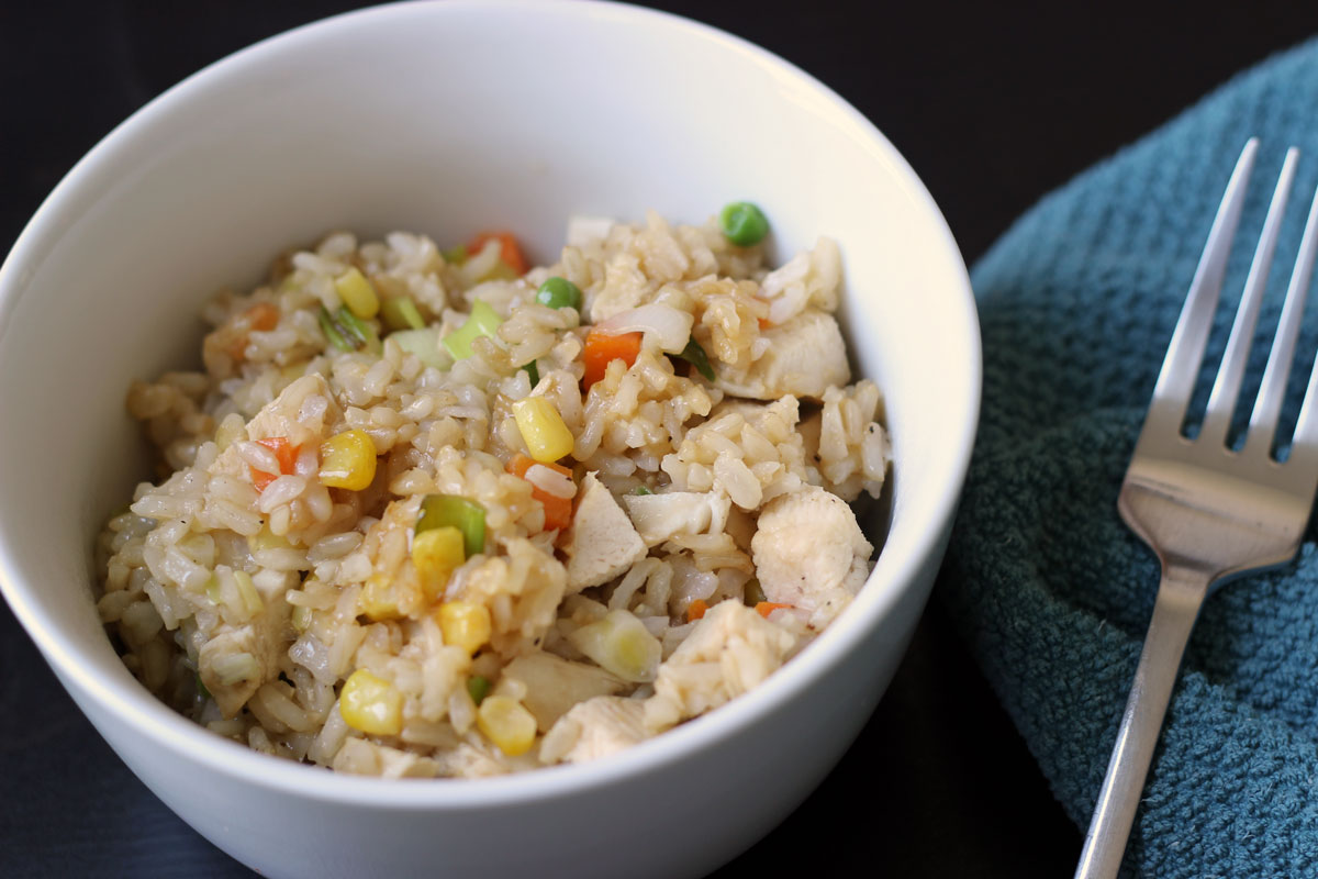 fried rice in bowl with fork