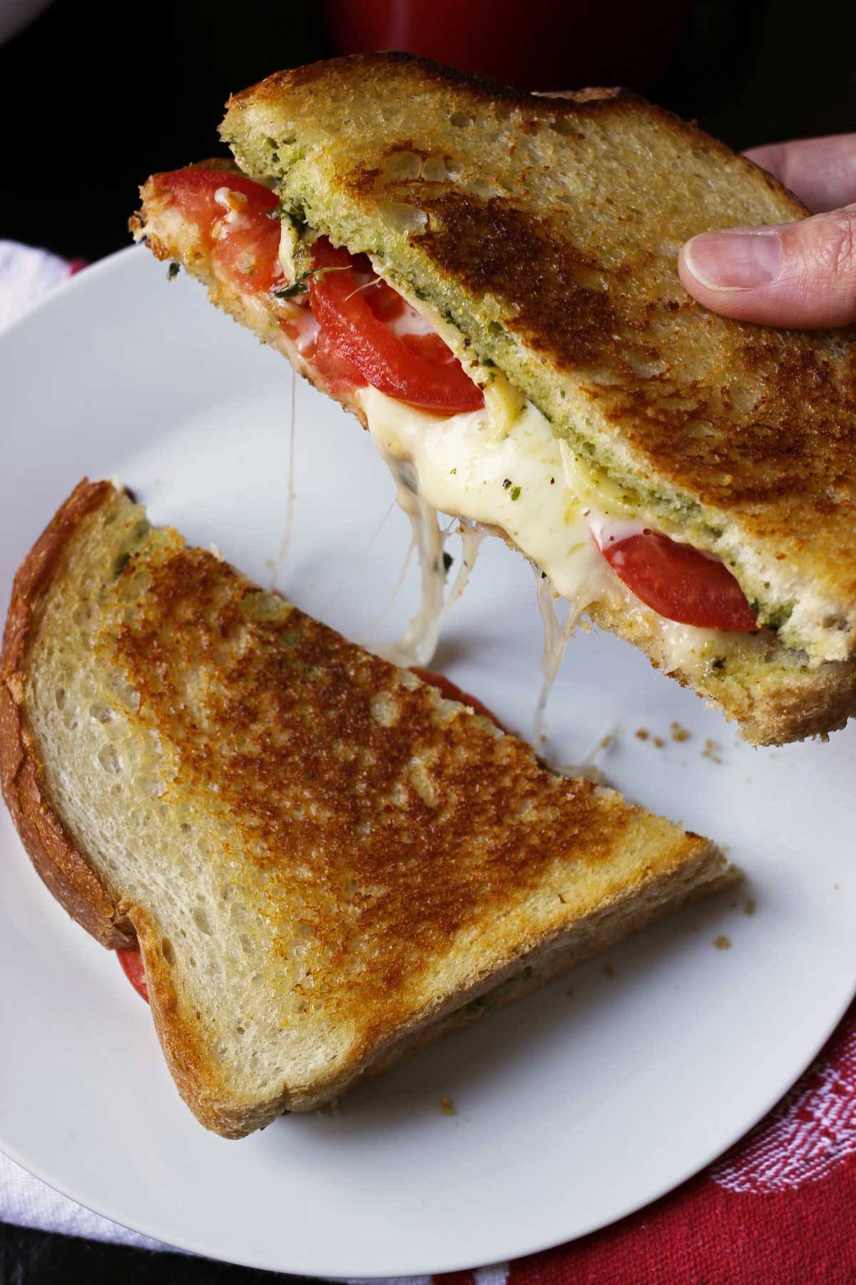 pesto and tomato grilled cheese sandwich on plate