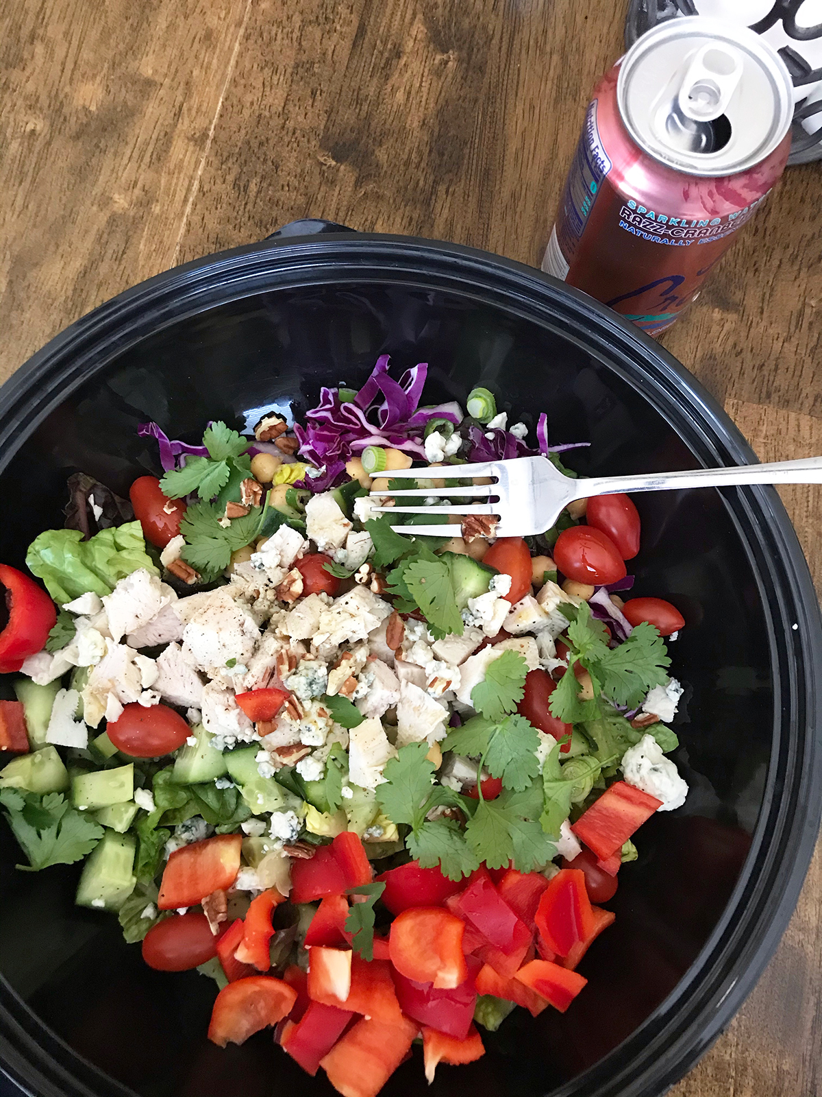 big salad with turkey leftovers