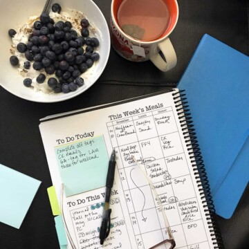 meal plan written in planner with mug and bowl