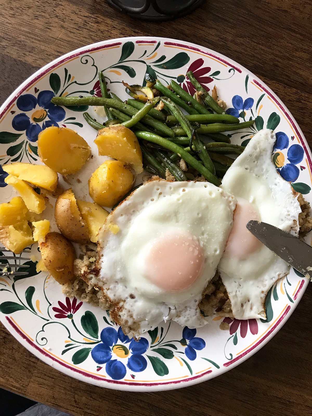 breakfast plate of eggs and leftovers