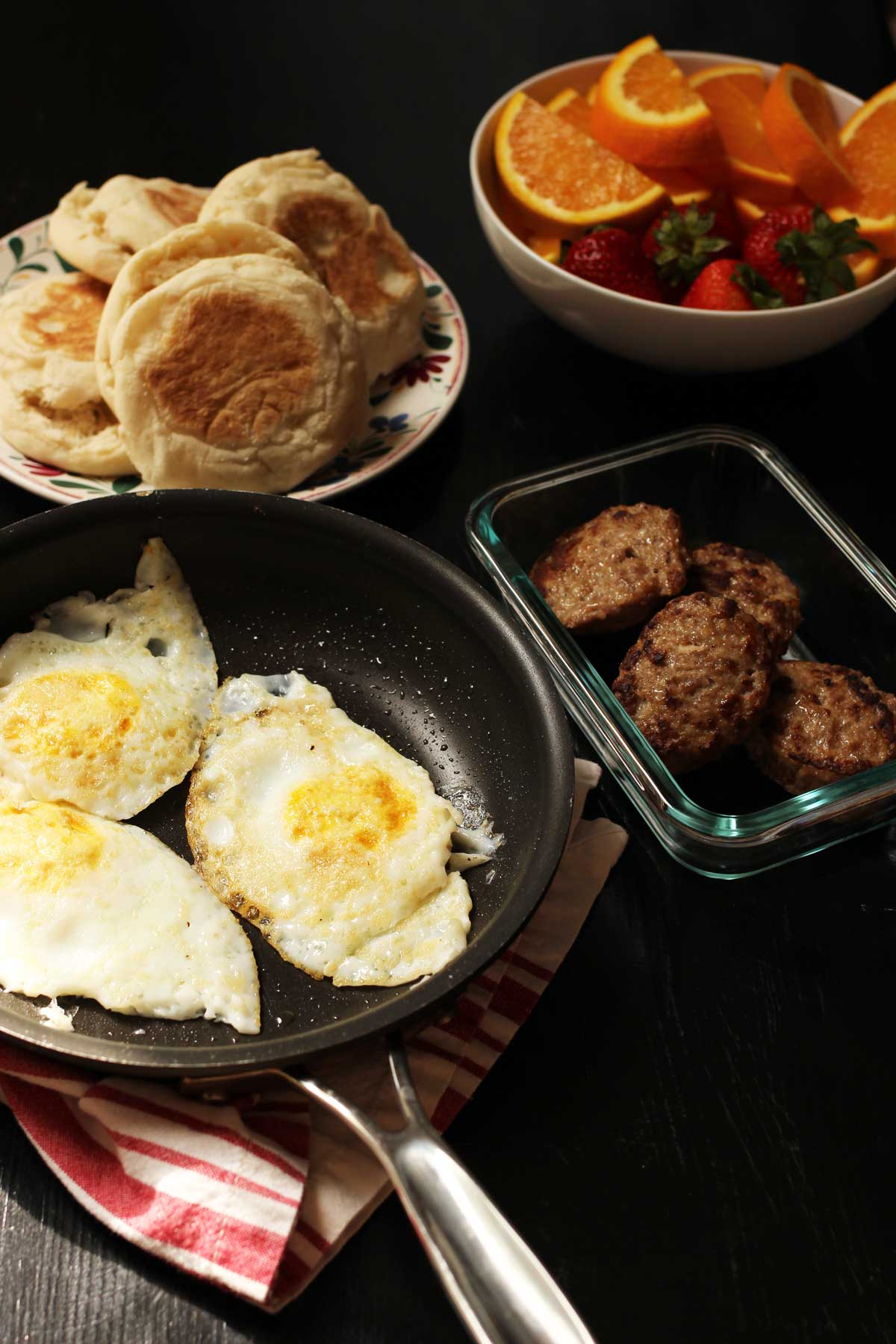 breakfast dishes set on table