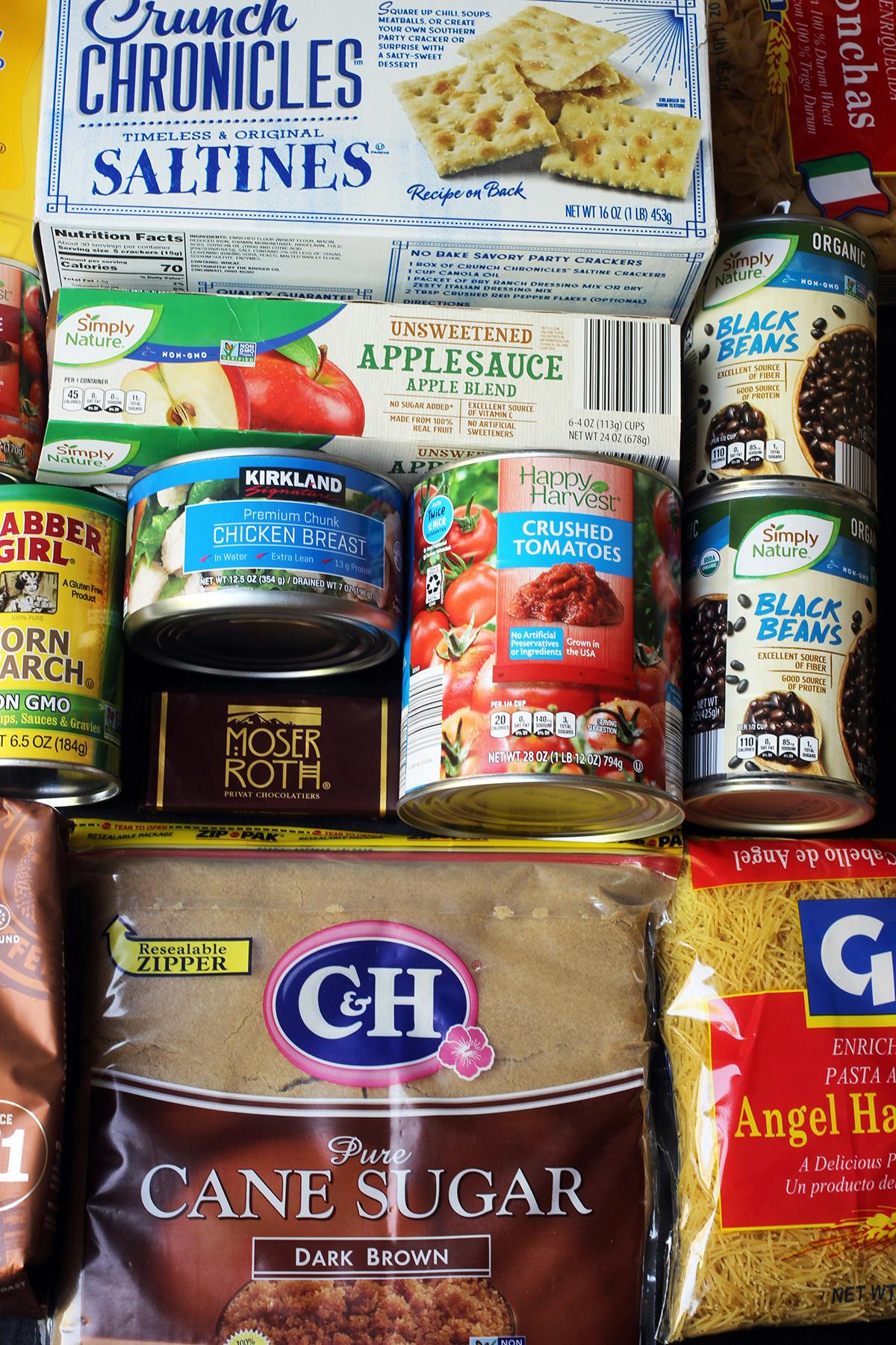 flatlay of pantry groceries