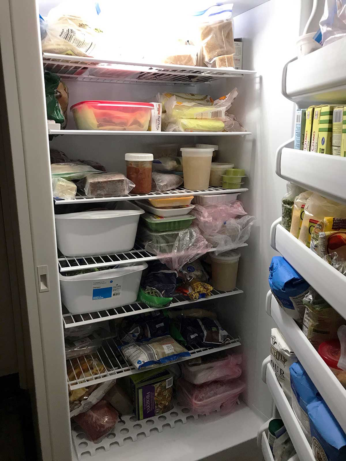 freezer with food on the shelves
