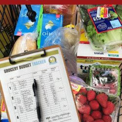 Pinterest pin showing cart of groceries and a budget planning sheet