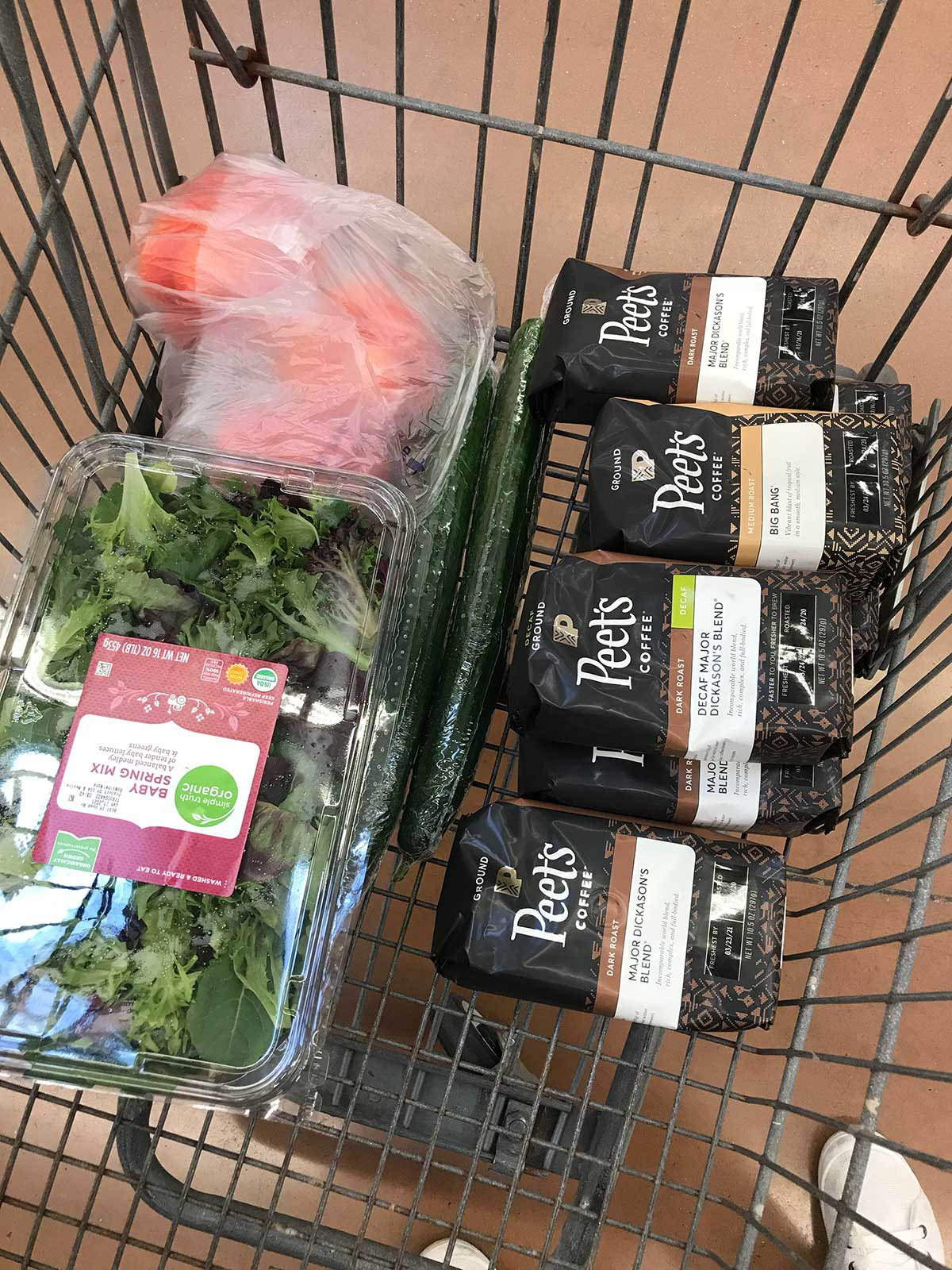 grocery cart with peets coffee