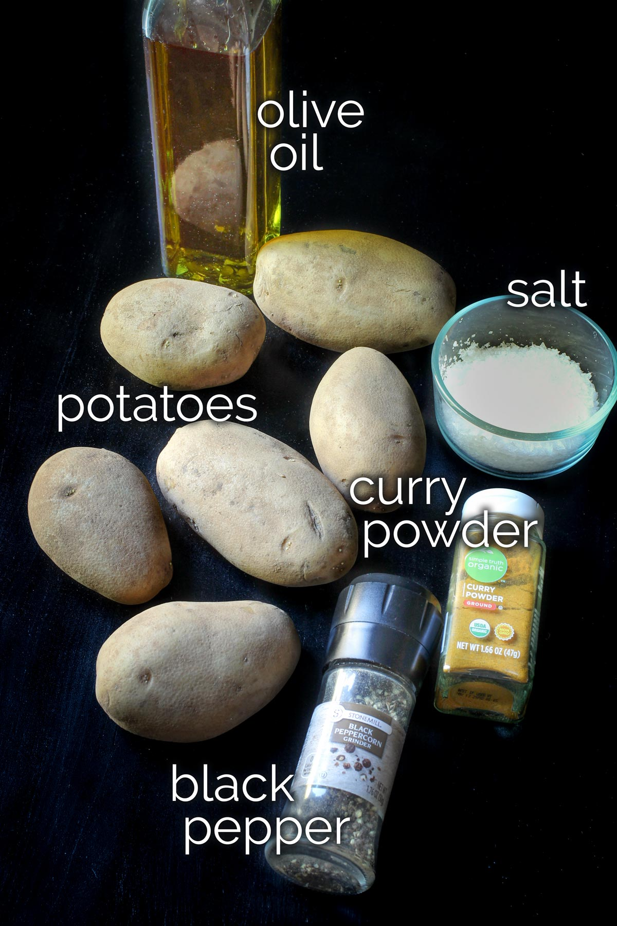 ingredients for curried potatoes