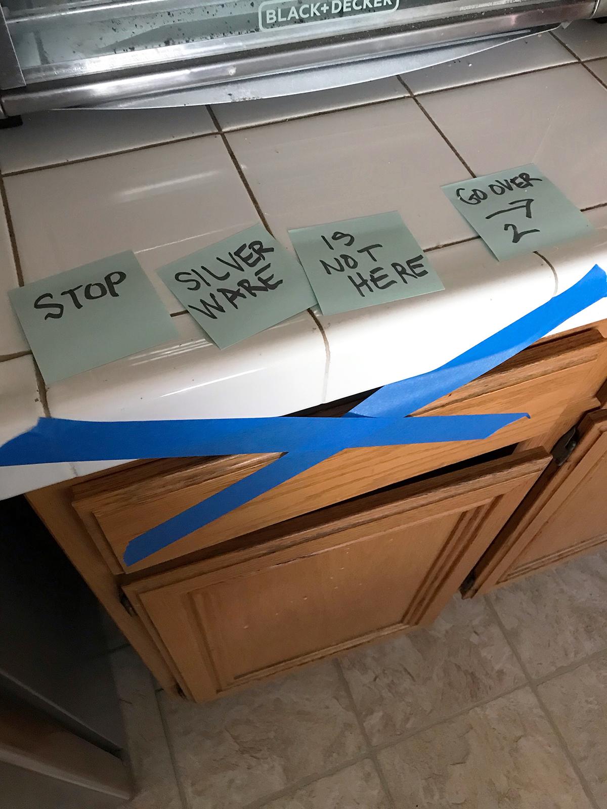 silverware drawer with warning