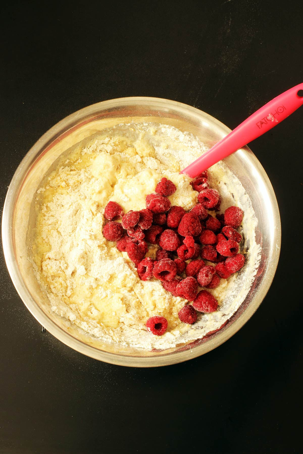 adding frozen raspberries to batter