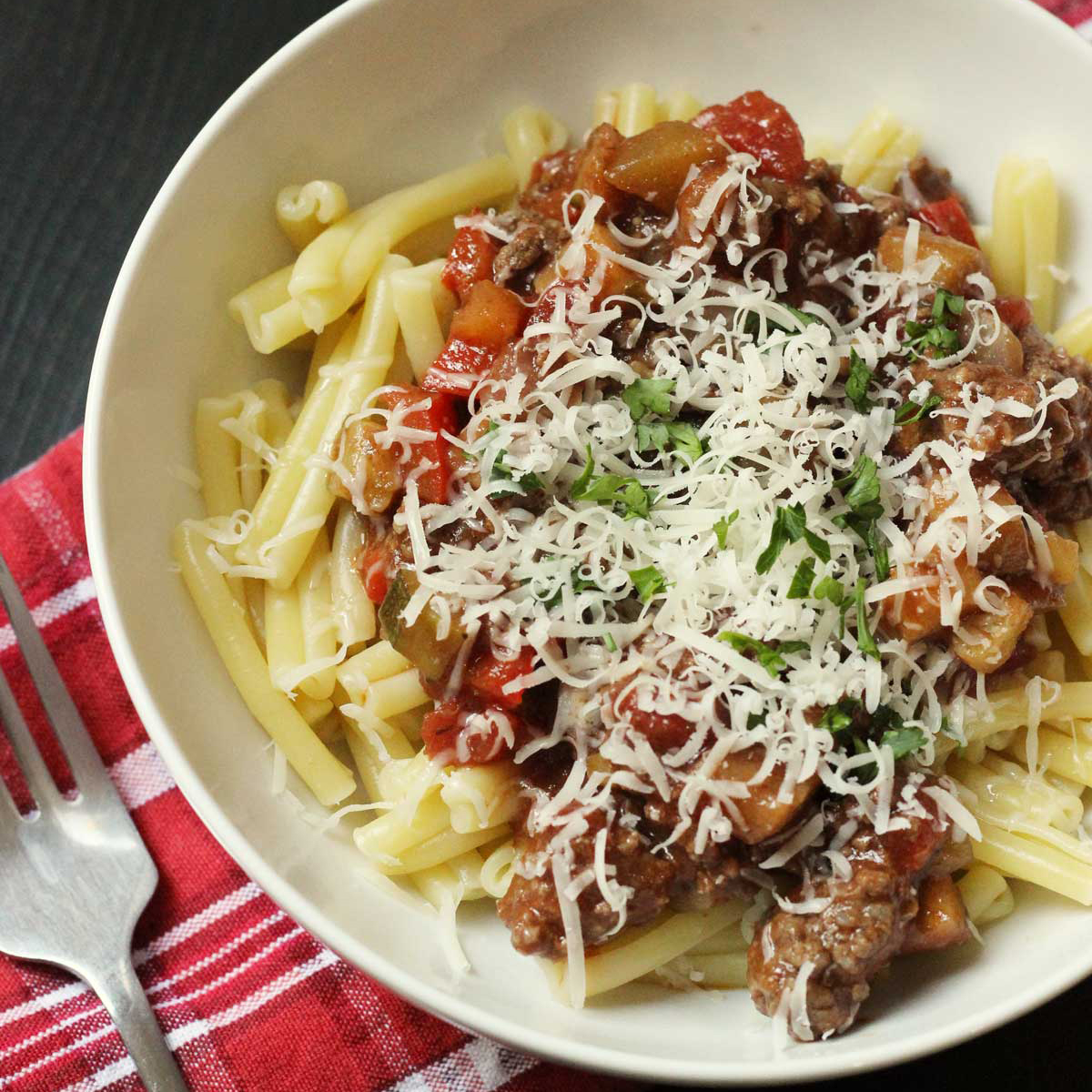 bowl of pasta with vegetable bolognese