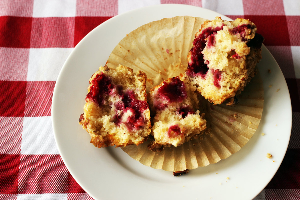 broken raspberry muffin on plate