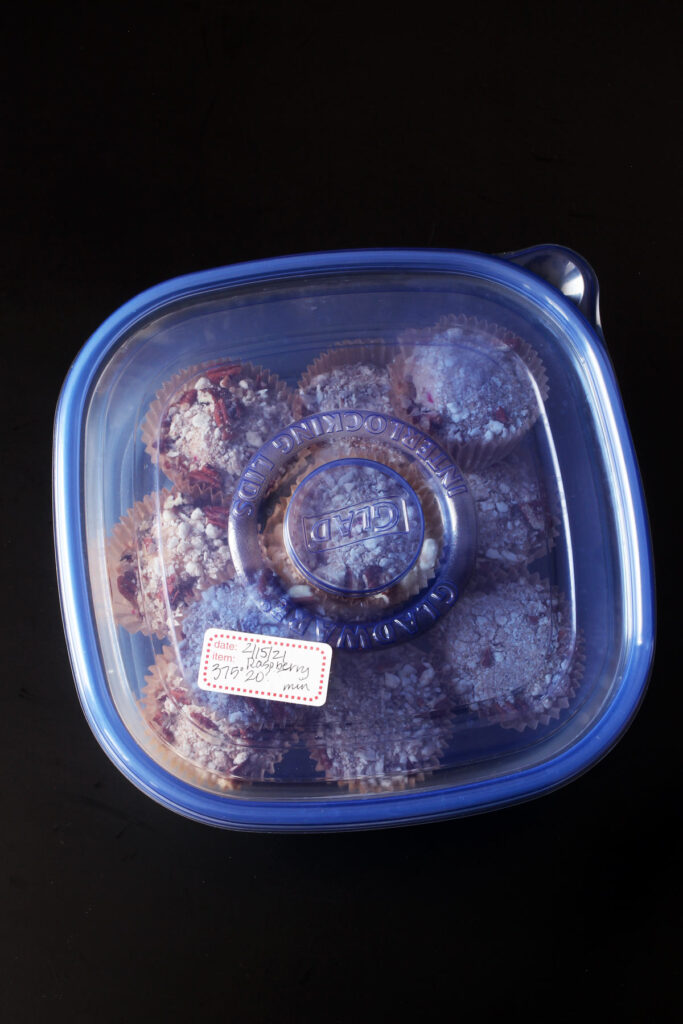 frozen muffins box with lid and label