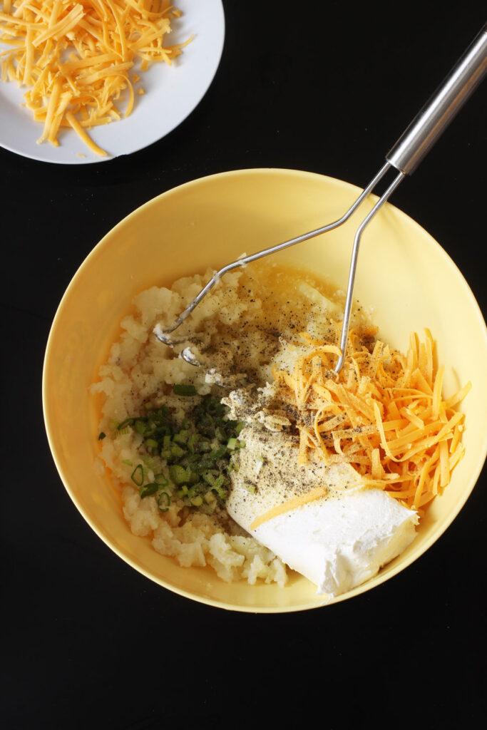stuffed potato ingredients in bowl