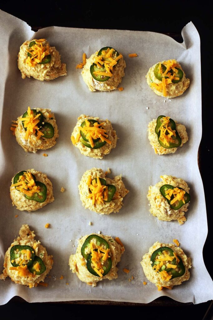 cheese on jalapenos on biscuits
