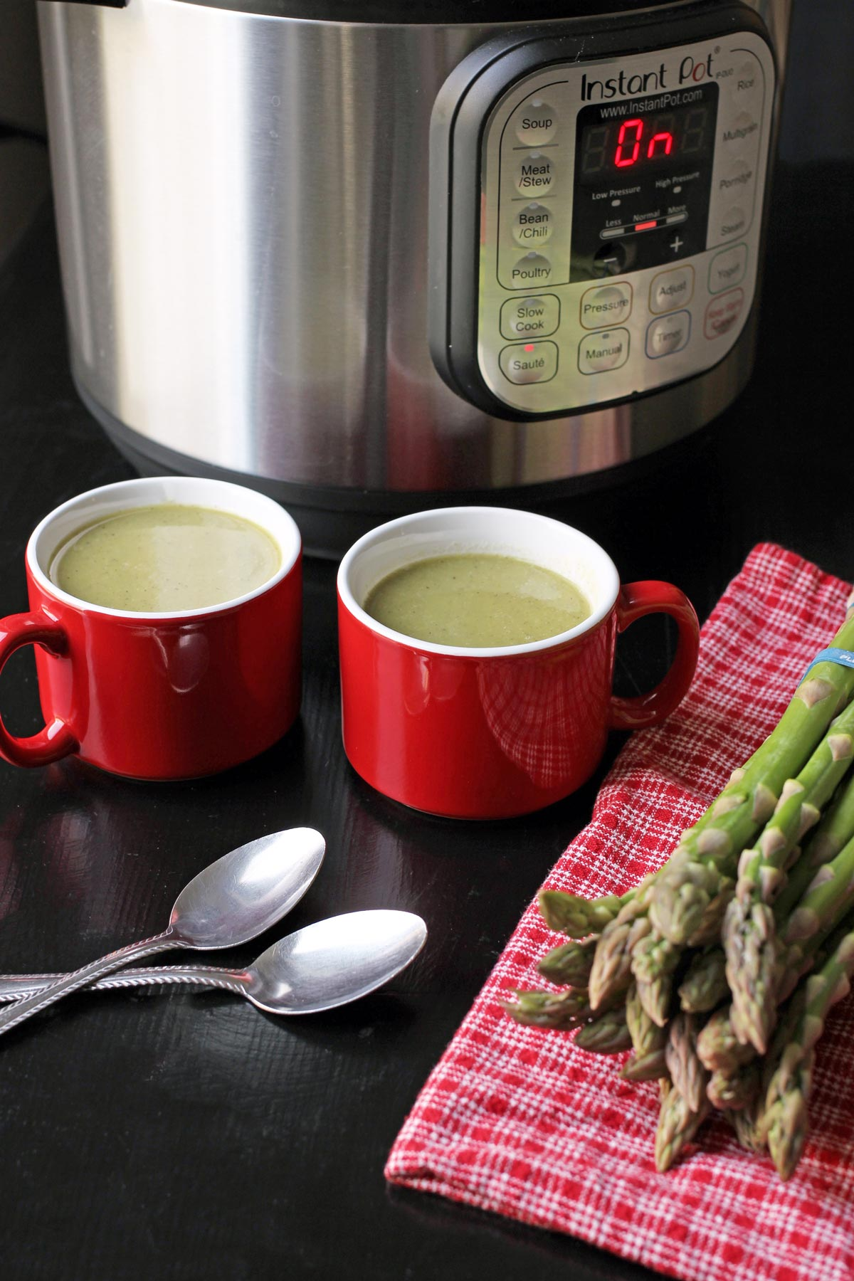 red mugs of soup by instant pot