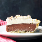 sideview of chocolate cream pie