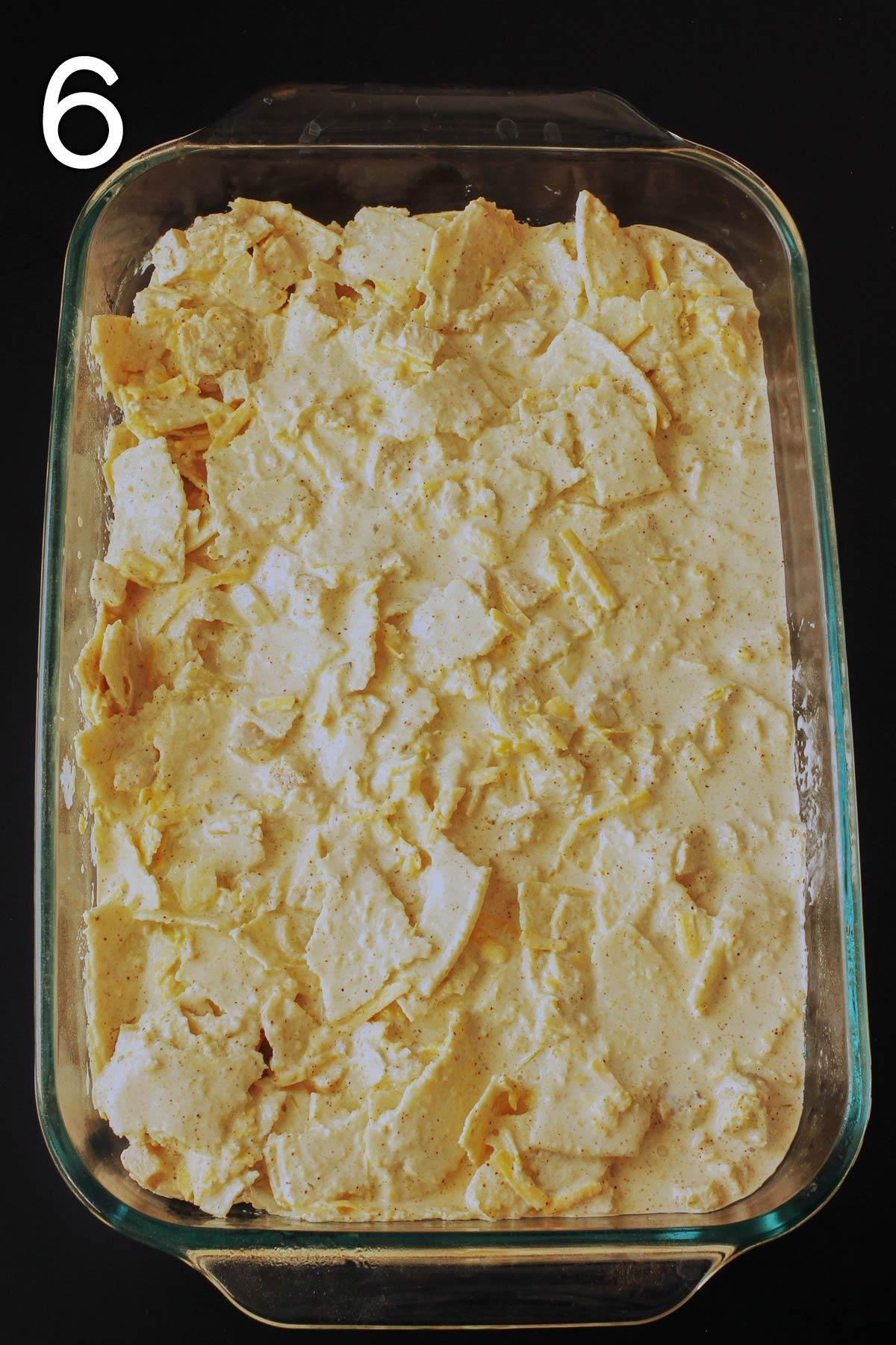 tortilla mixture spread in the pan.