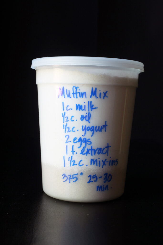 muffin mix in a tub