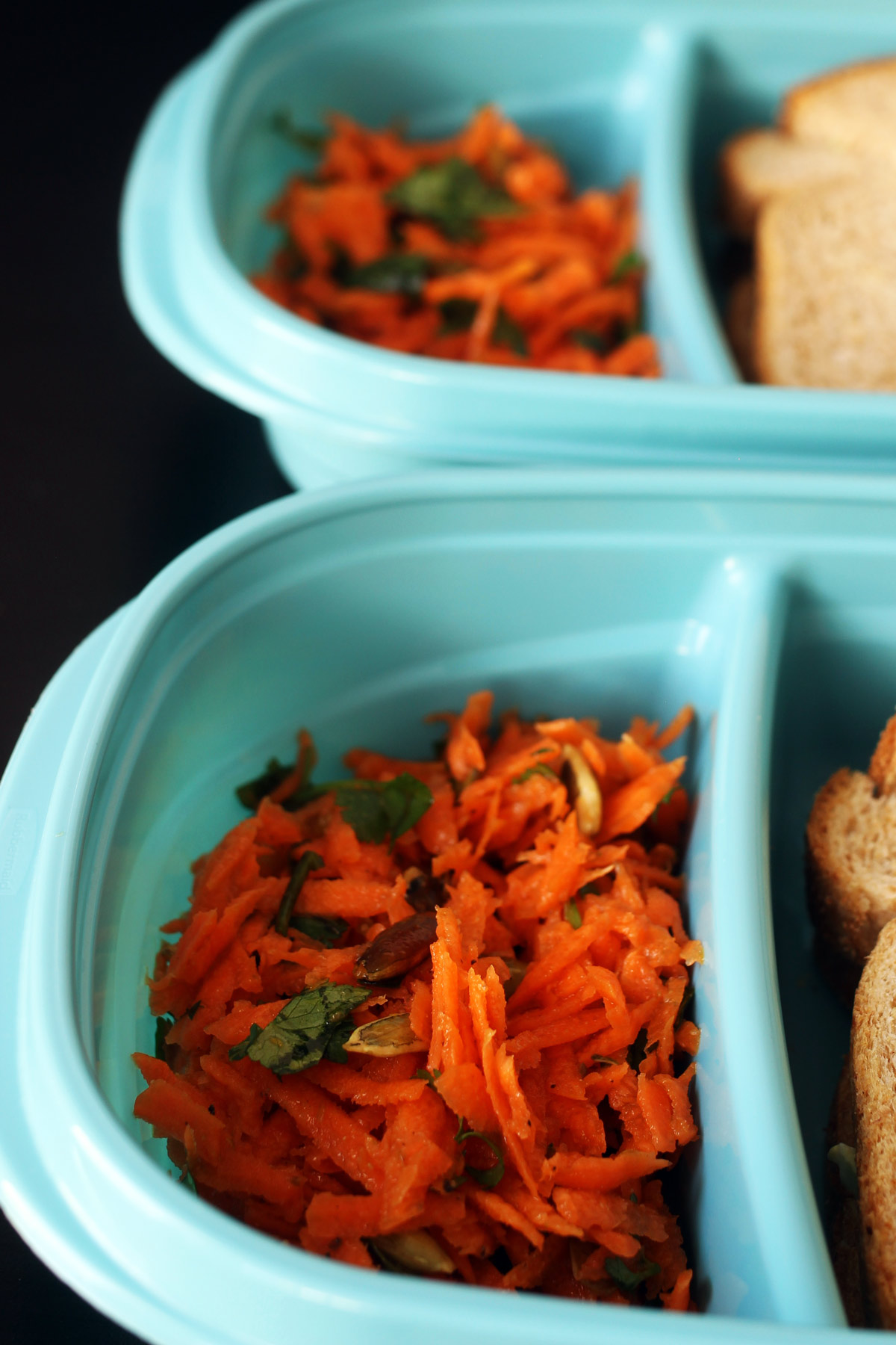 carrot salad in meal prep containers