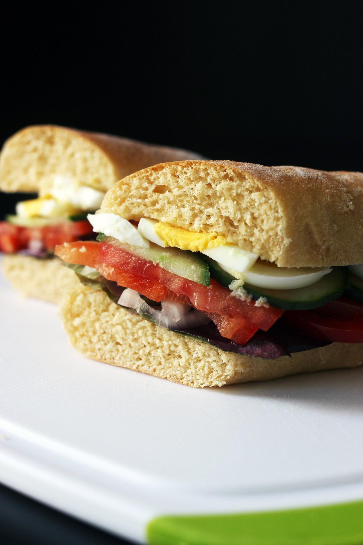 side view of egg sandwich cut in half