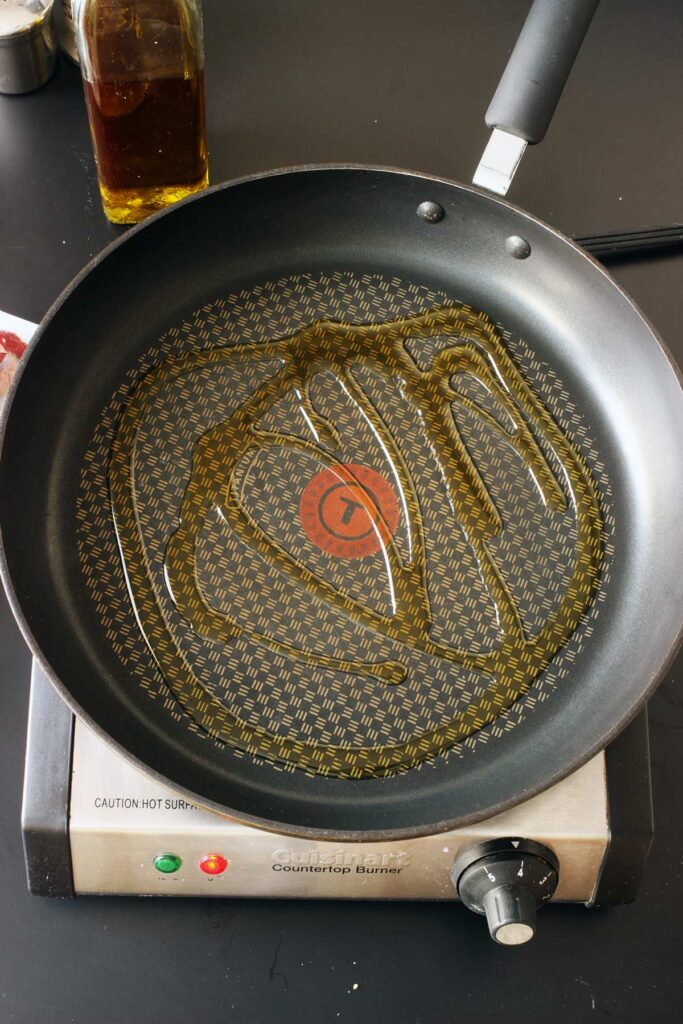 heating oil in a skillet