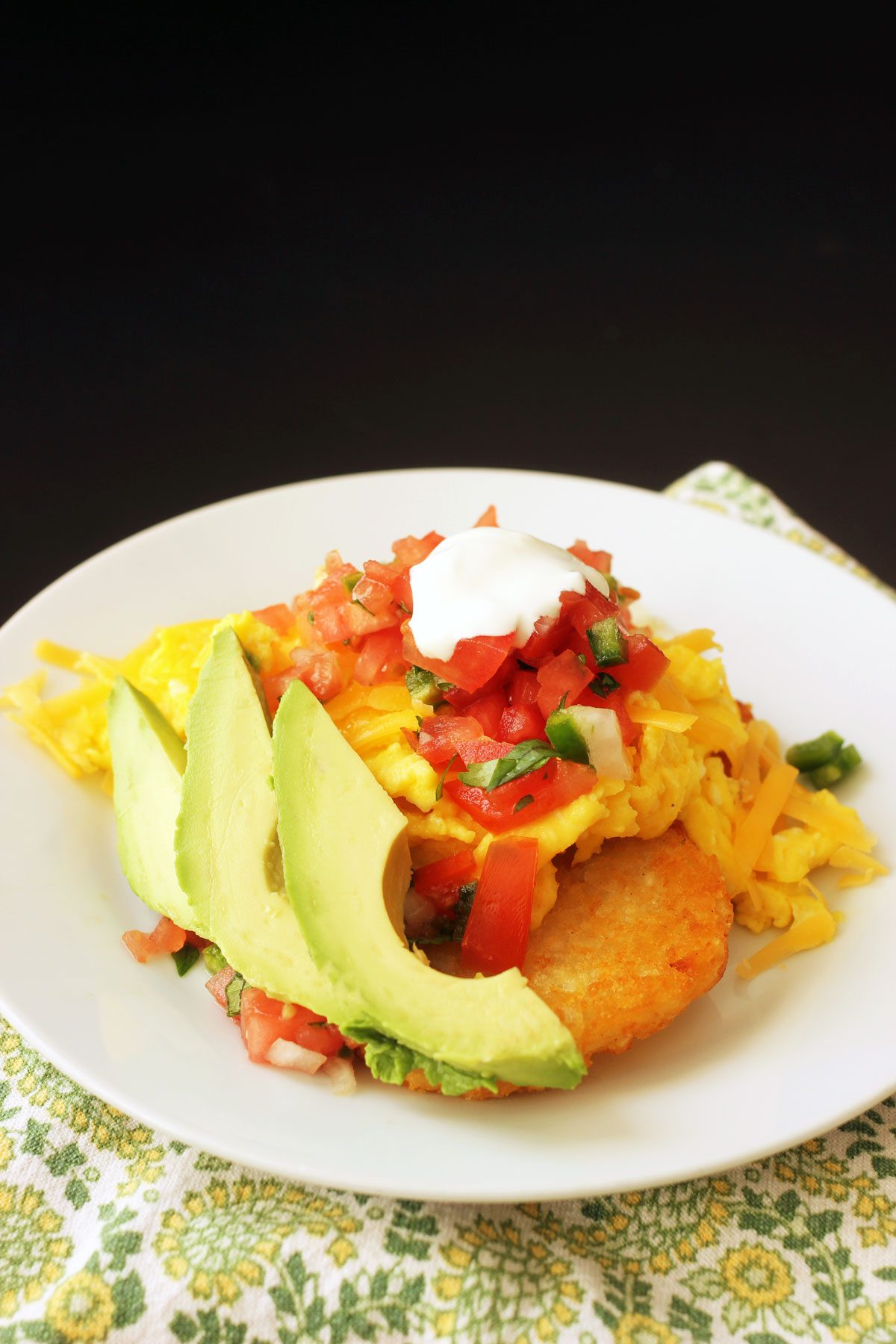 hash brown stacks with avocado slices fanned out