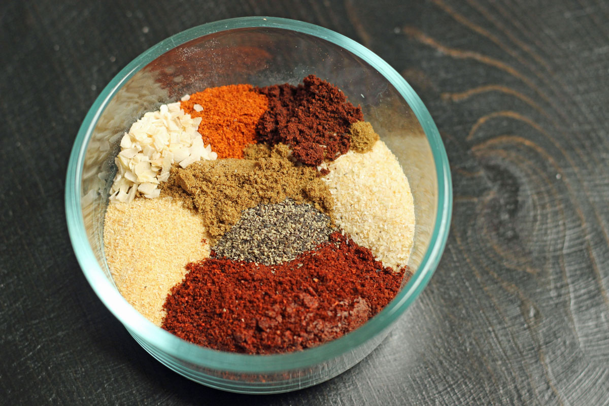 glass bowl of spices for pork rub